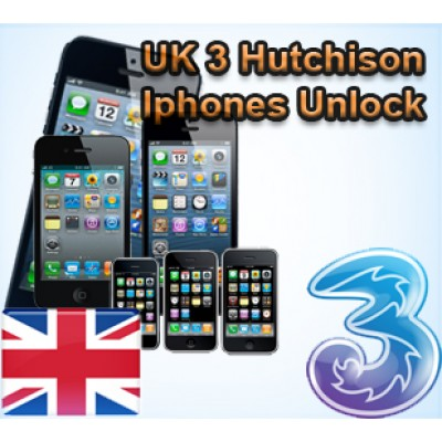 Официально Разлочить 3 Hutchison UK iPhone 3GS,4,4S,5,5S,5C,6,6+,6S,6S+(Premium)