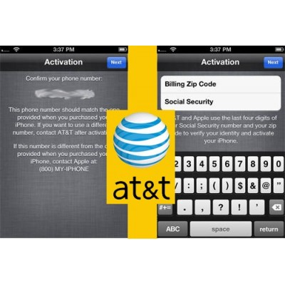 Активация iPhone AT&T при запросе ZIP код (ZIP Postal) и Last 4 digits Social Security Number(SSN)