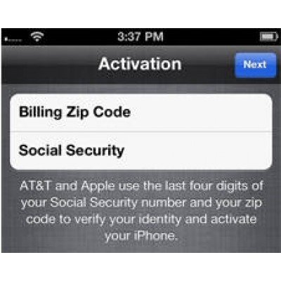 Активация iPhone 4,4S,5,5S,5C,6,6+ Verizon при запросе ZIP код (ZIP Postal) и Last 4 digits Social Security Number(SSN)
